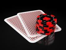 Karten und spielende Chips Lizenzfreie Abbildung