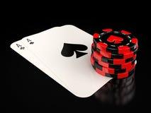Karten und spielende Chips Stock Abbildung