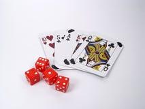 Karten und Würfel Lizenzfreies Stockfoto