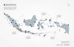 Karten-Vektorillustration Indonesiens infographic stockfotos