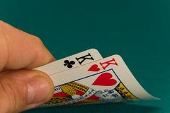 Karten vier oder zwei Könige der Karte 07 Stockbild