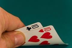 Karten vier oder zwei Karte 10 10s Lizenzfreies Stockfoto