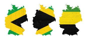 Karten von Deutschland mit den Farben von Jamaika-Schwarzem, grün und gelb, illustrativ von der so genannten Jamaika-Koalition stockfotos