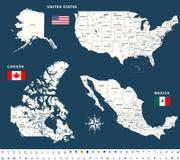 Karten von Kanada, Vereinigte Staaten und Mexiko mit Flaggen und Standortnavigationsikonen Lizenzfreies Stockbild