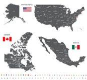 Karten von Kanada, Vereinigte Staaten und Mexiko mit Flaggen und Standortnavigationsikonen Lizenzfreie Stockfotografie
