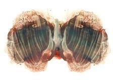Karten von rorschach Tintenkleks prüfen blauen und braunen Aquarellfleck Stockbild