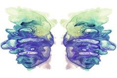 Karten von rorschach Tintenkleks-Test Flügeln Blauer, cyan-blauer und gelber Aquarellfleck Stockbild