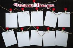 Karten warum ich liebe dich Stockbild