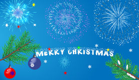 Karten-Weihnachtsdekorationen und ein Glückwunschtext Stockfotos