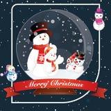 Karten-Weihnachtsschneemann-Glaskugel Stockbilder