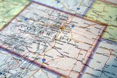 Kartenabschluß Vereinigter Staaten oben von Colorado lizenzfreies stockbild