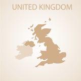 Kartenbraun Vereinigten Königreichs Lizenzfreie Stockfotografie