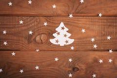 Kartendekorationen der frohen Weihnachten in der Papierausschnittart Lizenzfreies Stockbild