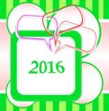 Kartendesign des neuen Jahres 2016 mit den abstrakten Spracheblasen eingestellt Stockfotos
