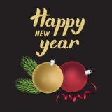 Kartendesign des neuen Jahres mit goldener Beschriftung, Tannenbaumast, Dezember vektor abbildung