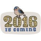 Kartendesign des neuen Jahres und des Weihnachtsgrußes Hand gezeichneter Dompfaffvogel lokalisiert auf Hintergrund Neues Jahr ist Lizenzfreie Stockbilder