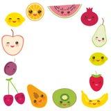 Kartendesign für Ihren Text, Fahnenschablone, quadratische Rahmenerdbeere, Orange, Bananenkirsche, Kalk, Zitrone, Kiwi, Pflaumen, Lizenzfreie Stockfotos