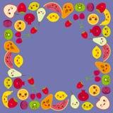 Kartendesign für Ihren Text, Fahnenschablone, quadratische Rahmenerdbeere, Orange, Bananenkirsche, Kalk, Zitrone, Kiwi, Pflaumen, Stockfoto