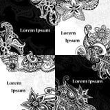Kartendesignsatz Mandala und Gekritzelhintergrund Dekorative Elemente für Plakat, Einladung Orientalische Schablonen mit Platz fü Stockbild