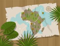 Kartendschungelafrika-Karikaturschatzjäger Stockfotos
