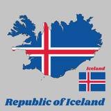 Kartenentwurf und Flagge von Island, ist es als der Himmel mit einem schneeweißen Kreuz und brennend-rotes Kreuz innerhalb des we stock abbildung
