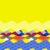 Kartenfahnenschablone stuft einfachen Naturhintergrund mit Karten-Fahnende des chinesischen Wellenkreismusters blauem rotem gelb- vektor abbildung