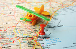 Kartenflug Valencias, Spanien Stockbilder