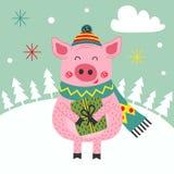 Kartenguten rutsch ins neue jahr des Schweins stock abbildung
