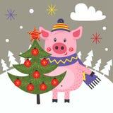 Kartenguten rutsch ins neue jahr mit Schwein- und Weihnachtsbaum vektor abbildung