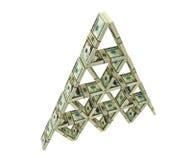 Kartenhaus gebaut von den Dollarbündeln vektor abbildung