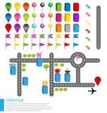 Kartenikonen mit Gebäuden und Straßen Stockfotografie