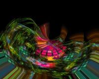 Kartenlocke Fractalphantasie der abstrakten digitalen modernen Artkarte der Verzierung vibrierende kreativ, künstlerisch, Eleganz lizenzfreie abbildung