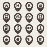 Kartennavigations-Ikonensatz Lizenzfreie Stockfotografie