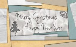 Kartenpapier des neuen Jahres der frohen Weihnachten stockfotografie