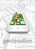 Kartenplakat mit Platzikonen auf smarthone Auch im corel abgehobenen Betrag Lizenzfreies Stockfoto