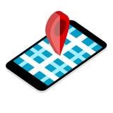 Kartenpunkt am Handy Stockbild