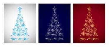 Kartensatz von Cyan-blauem, Silber, Gold, Schneeflocke Weihnachtsbaum auf Farbhintergrund lizenzfreie stockfotos