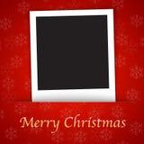 Kartenschablone der frohen Weihnachten mit unbelegtem Foto fra Stockbild