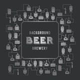 Kartenschablone mit Bierbrauereielement Vektor Stockbilder