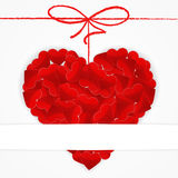 Kartenschablone mit großem rotem Herzen Stockbilder