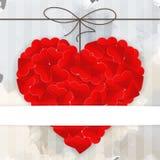 Kartenschablone mit großem rotem Herzen vektor abbildung