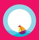 Kartenschablone mit Spielzeugboot Lizenzfreies Stockbild