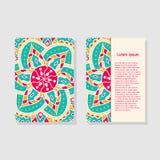 Kartenschablonen mit Mandala Lizenzfreie Stockfotografie