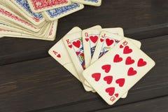 Kartenspielpoker Der gewinnende Satz Königlicher Blitz im Poker Lizenzfreie Stockfotografie