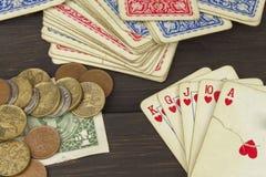 Kartenspielpoker Der gewinnende Satz Königlicher Blitz im Poker Stockfotografie
