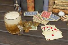 Kartenspielpoker Der gewinnende Satz Königlicher Blitz im Poker Lizenzfreies Stockfoto