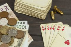 Kartenspielpoker Der gewinnende Satz Königlicher Blitz im Poker Stockfoto