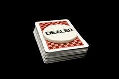 Kartenstapeles und Händler lizenzfreies stockfoto