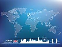 Kartenstift mit London-Skylinen Stockbild