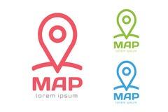 Kartenstiftvektorlogo-Ikonenschablone Reise-Logo Stockbild